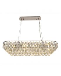 Visconte Maine 8 Light Rectangular Crystal Ceiling Pendant - Chrome
