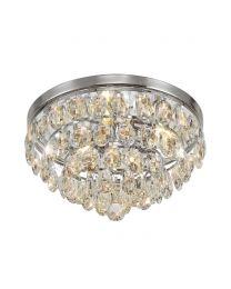 Visconte Maine 3 Light Crystal Flush Ceiling Light - Chrome