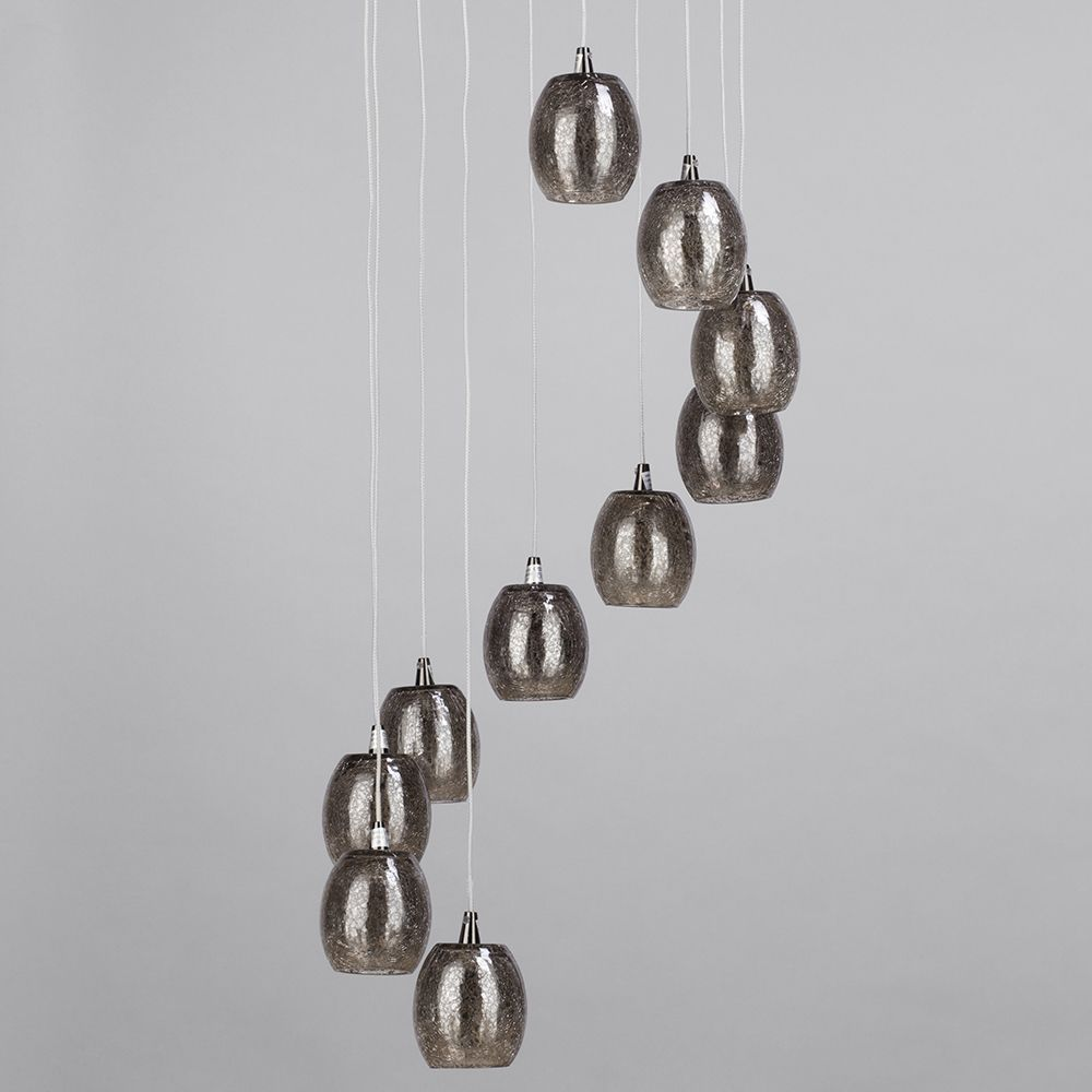 10 Light Circular Ceiling Pendant Cluster With Crackled