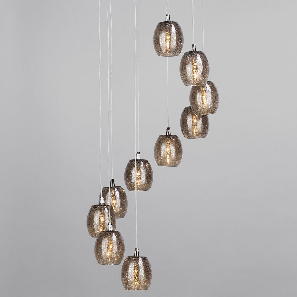 10 light circular ceiling pendant cluster with crackled glass shades crackled glass pendant light aloadofball Images