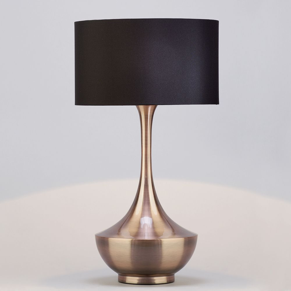 Copper Table Lamp With Dark Grey Shade 1 Light From