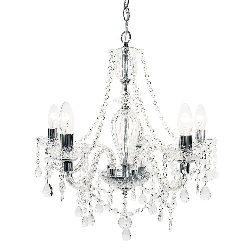 Clearance chandeliers uk sales at litecraft shop avignon 5 light glass and chrome chandelier chrome mozeypictures Images