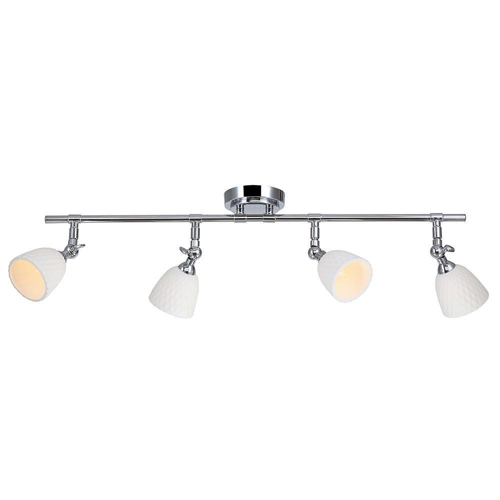4 Light Adjustable Spotlight Bar with White Shades Chrome