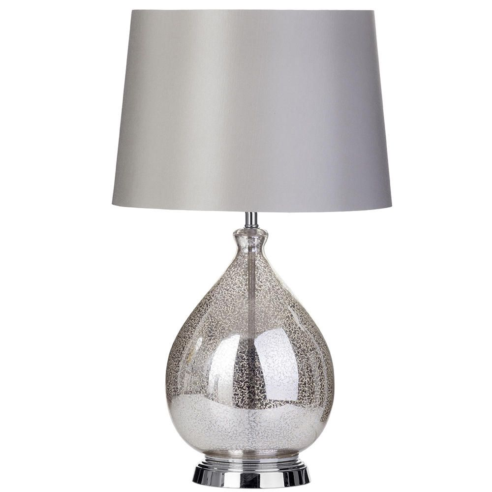 1 Light Speckled Glass Table Lamp with Grey Shade - Chrome from ...