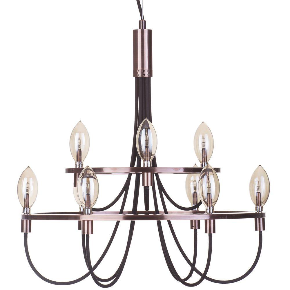Litecraft 9 Light Vintage Style Ceiling Pendant - Copper