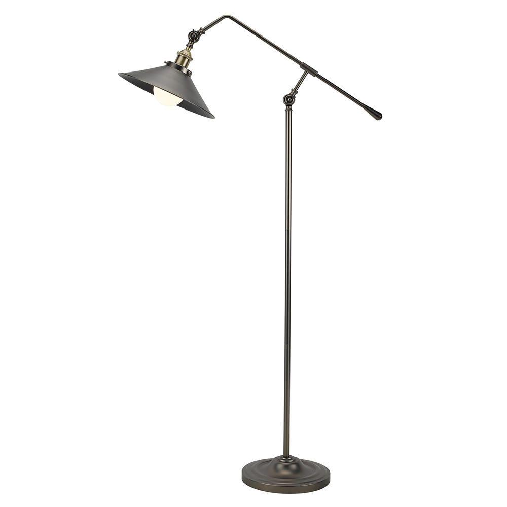1 Light Industrial Style Adjustable Floor Lamp  Antique Brass