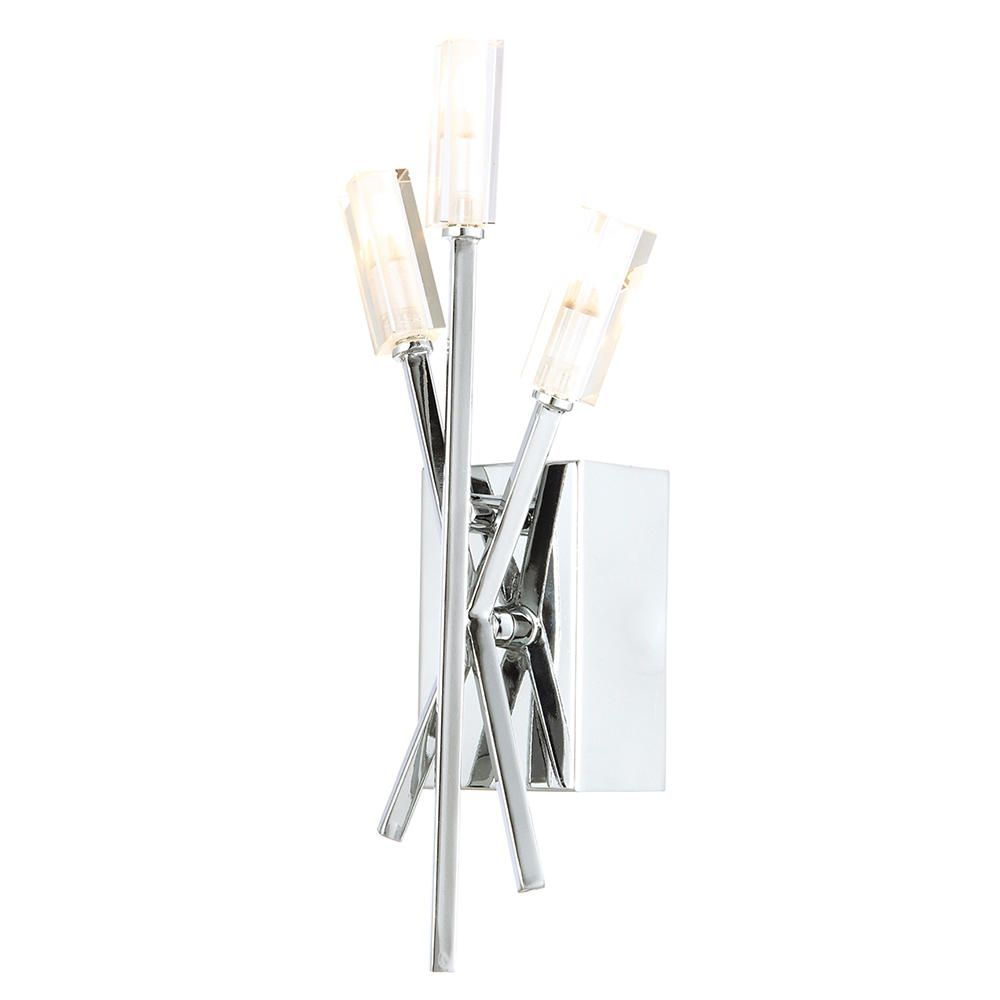 3 Light Stick Wall Light with Fluted Glass Shades - Chrome From Litecraft