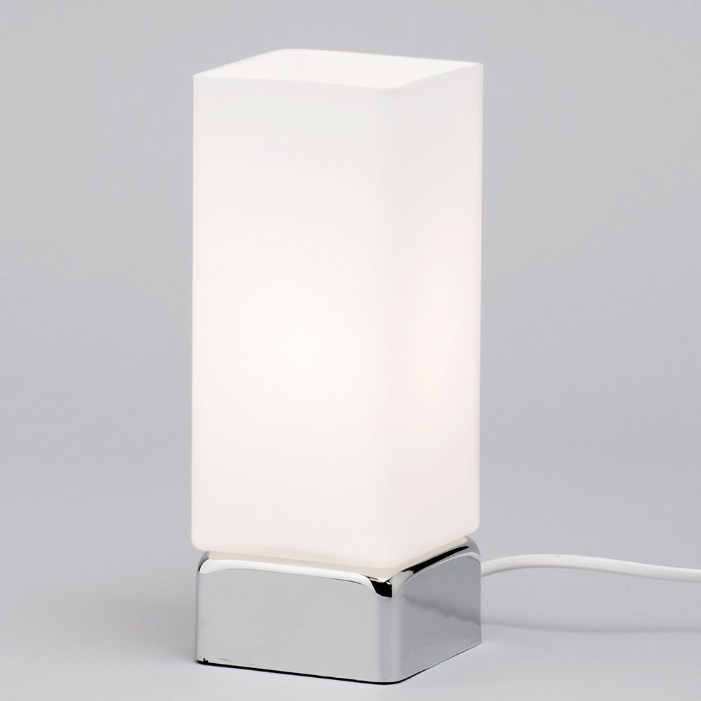 1 Light Rectangle Table Lamp With Tall White Frosted Shade