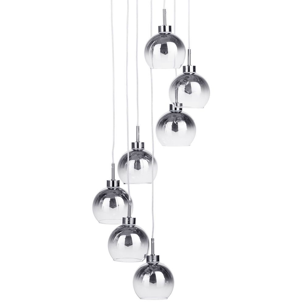 Litecraft 7 Light Cluster Ceiling Pendant with Faded Glass Shades - Chrome