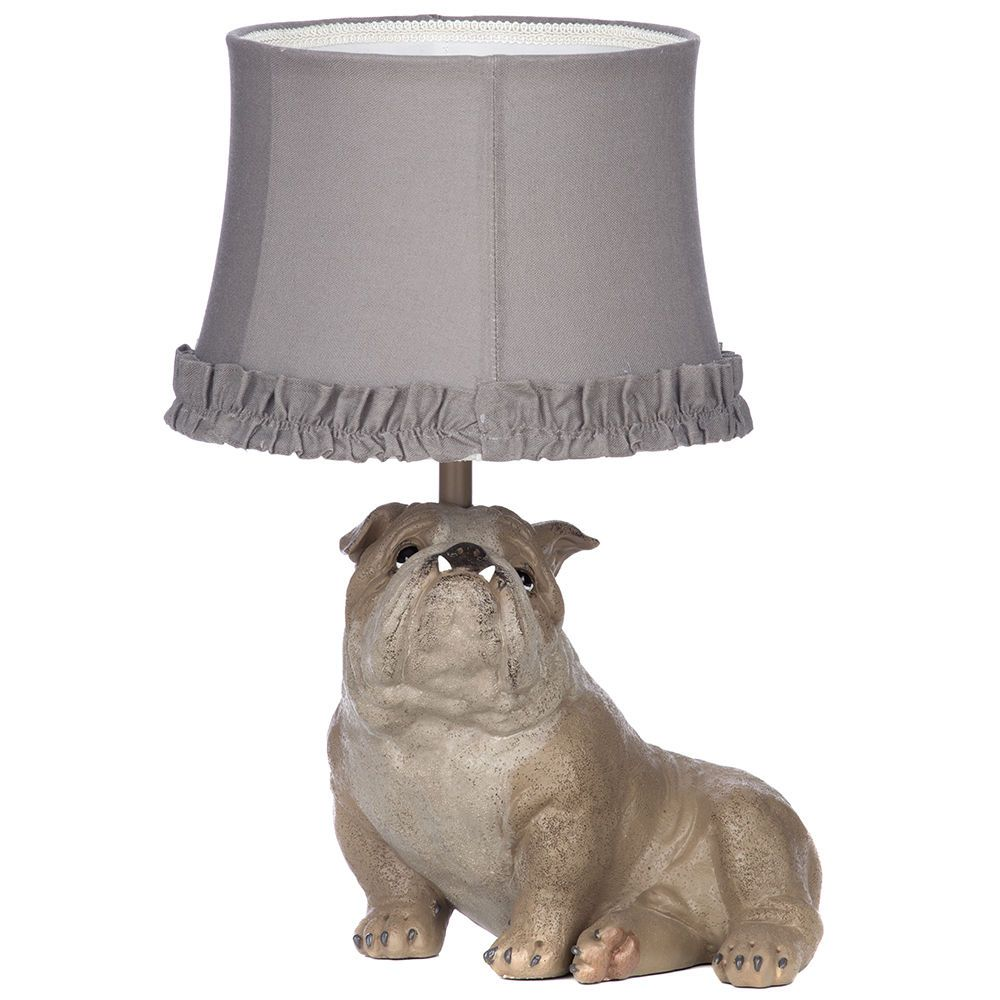 1 light bull dog table lamp with ruffled shade brown from litecraft fastfree delivery geotapseo Gallery