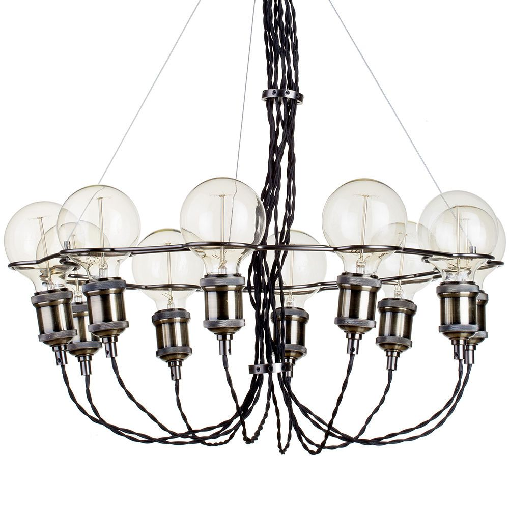 10 Light Vintage Style Braided Cable Ceiling Pendant -