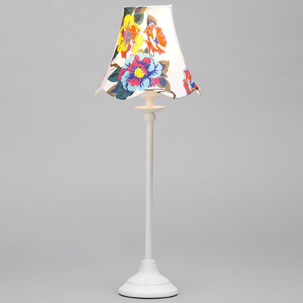 1 Light Stick Table Lamp with Floral Conical Shade - White From ...