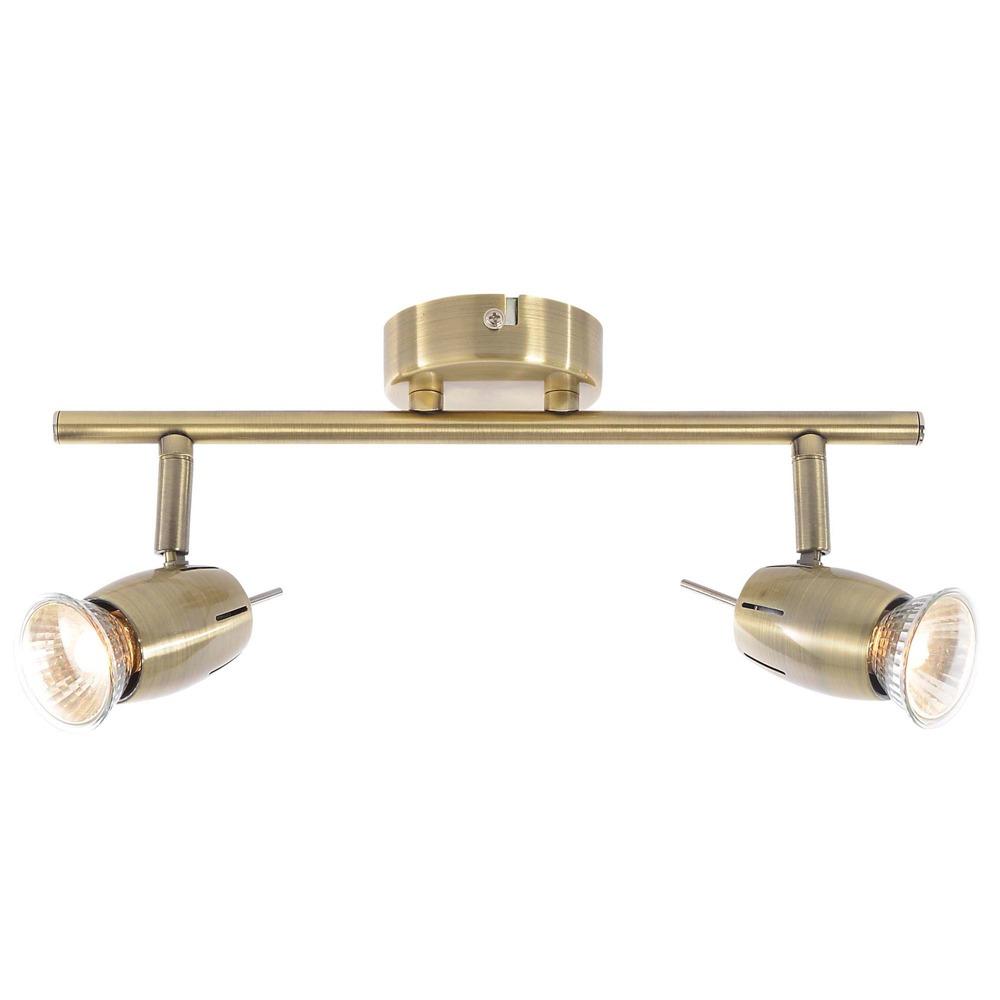 Lighting Bathroom Lighting Spotlights Ceiling lights Frank 2 Light Adjustable Ceiling Spotlight Bar - Antique Brass