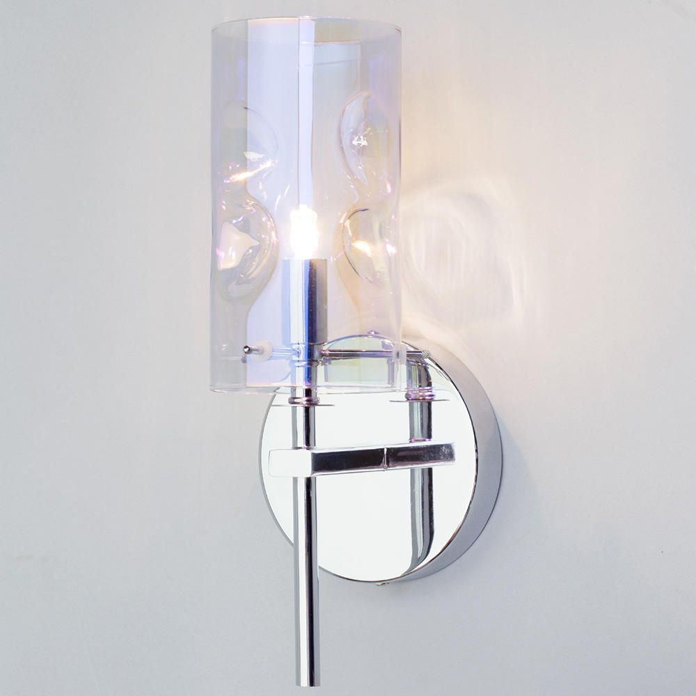 Monet 1 Light Petroleum Tinted Glass Wall Light Chrome