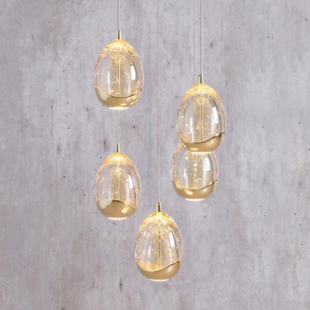 Visconte Bulla 5 Light Led Spiral Pendant Gold Litecraft