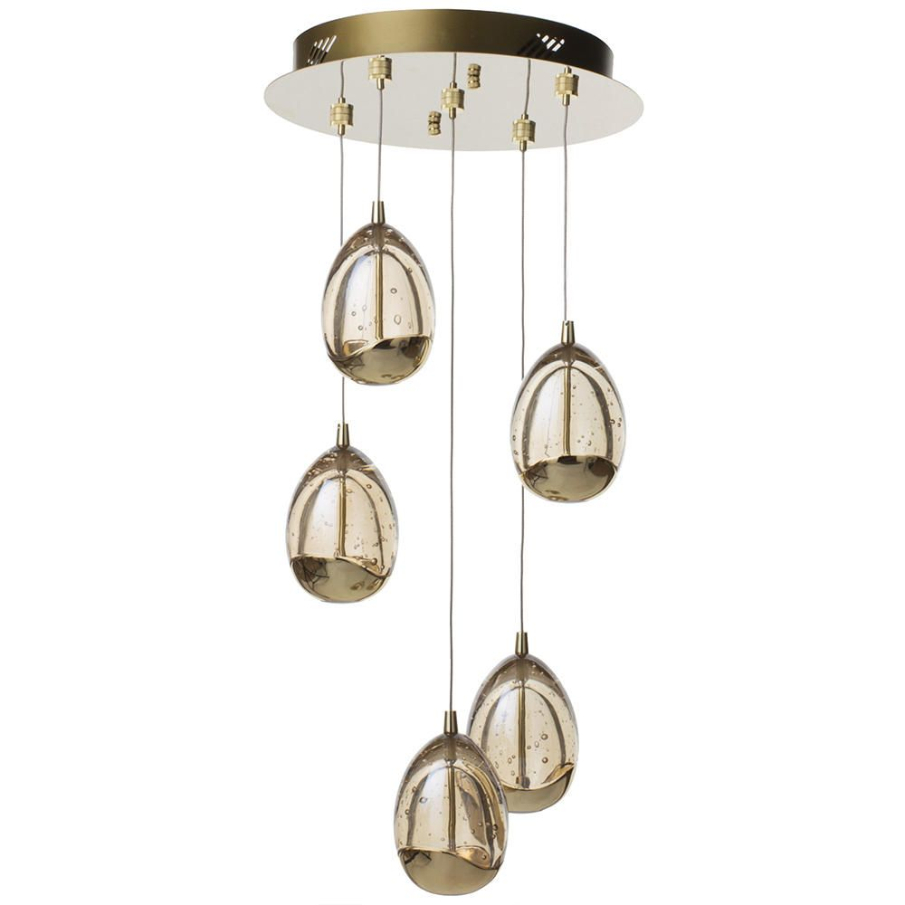 Led Ceiling Lights Gold: Visconte Bulla 5 Light LED Spiral Cluster Ceiling Pendant