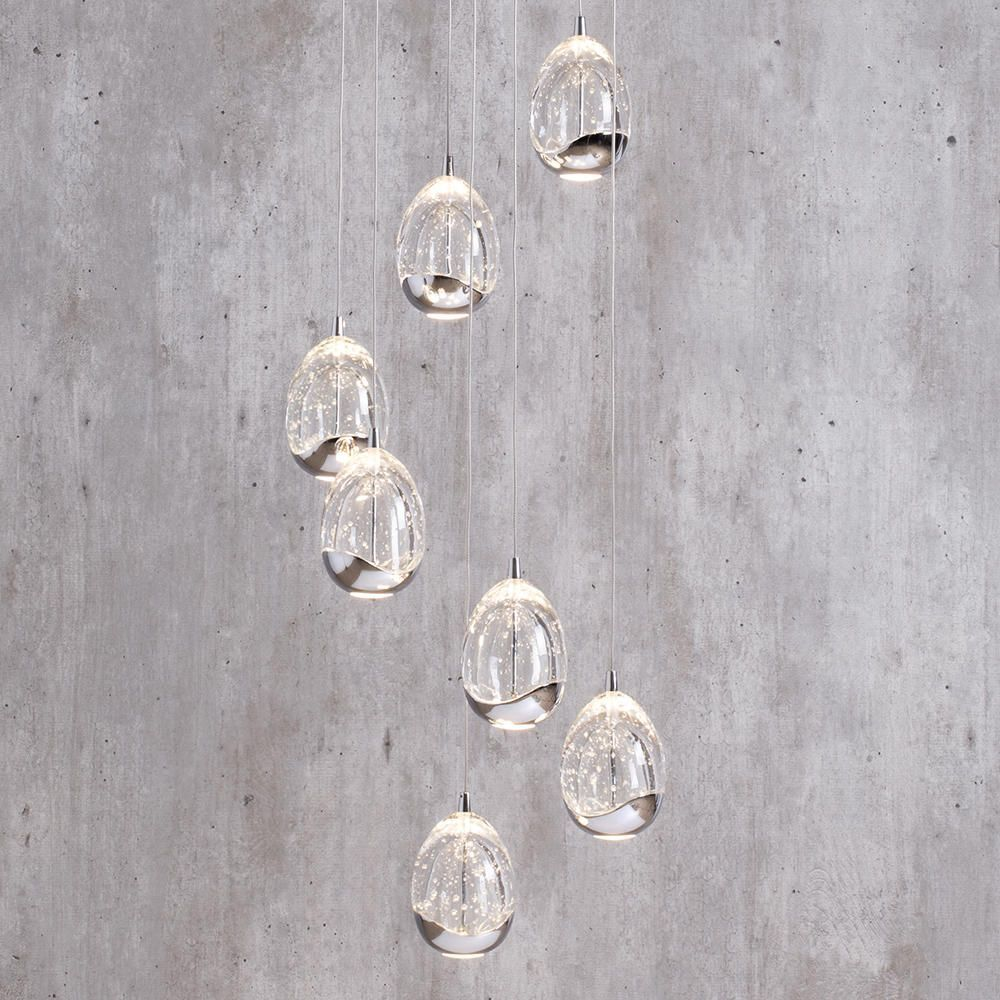 Bulla Pendant Ceiling 7 Light LED Spiral Cluster