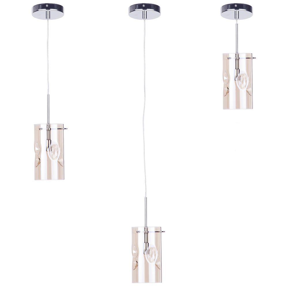 Height Adjustable Louisanne Pendant Light: Monet 1 Light Champagne Tinted Glass Ceiling Pendant