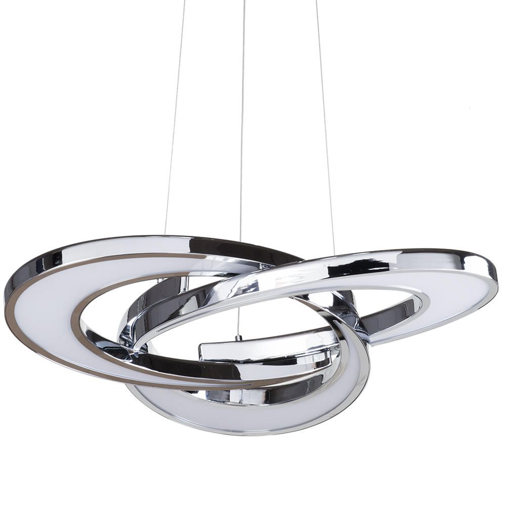 A Guide To Kitchen Lighting From Litecraft: Chrome Twin LED Hanging Ceiling Pendant Light Modern Home