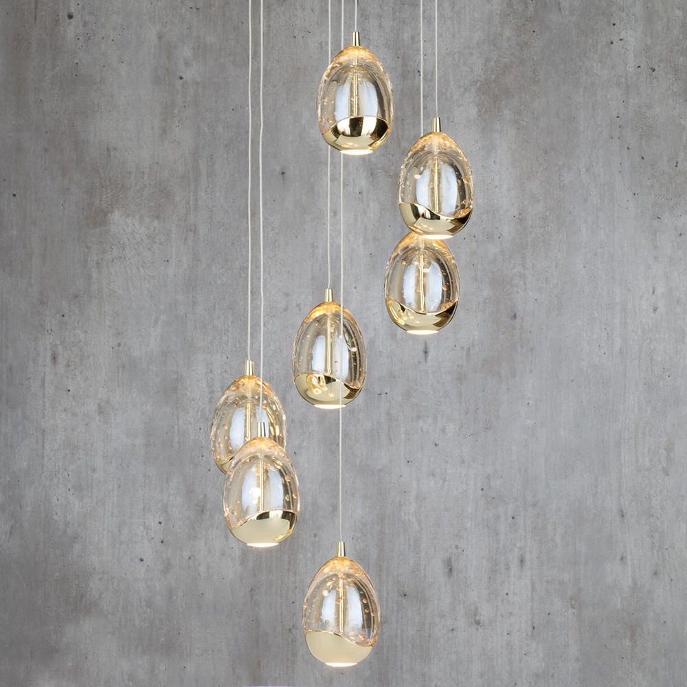 Bulla 7 light led spiral cluster ceiling light gold from litecraft i17 md31003023 7a gd luxurious ceiling pendant lighting beautiful led energy saving mozeypictures Image collections