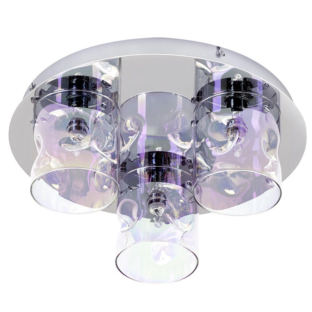 Visconte monet 3 light petroleum tinted glass flush ceiling light glass flush ceiling light chrome free delivery mozeypictures Gallery
