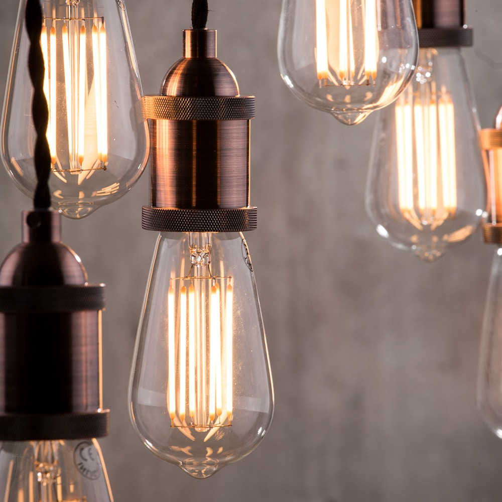 Alton 7 Light Braided Cable Cluster Pendant Industrial Style Copper Litecraft Ebay