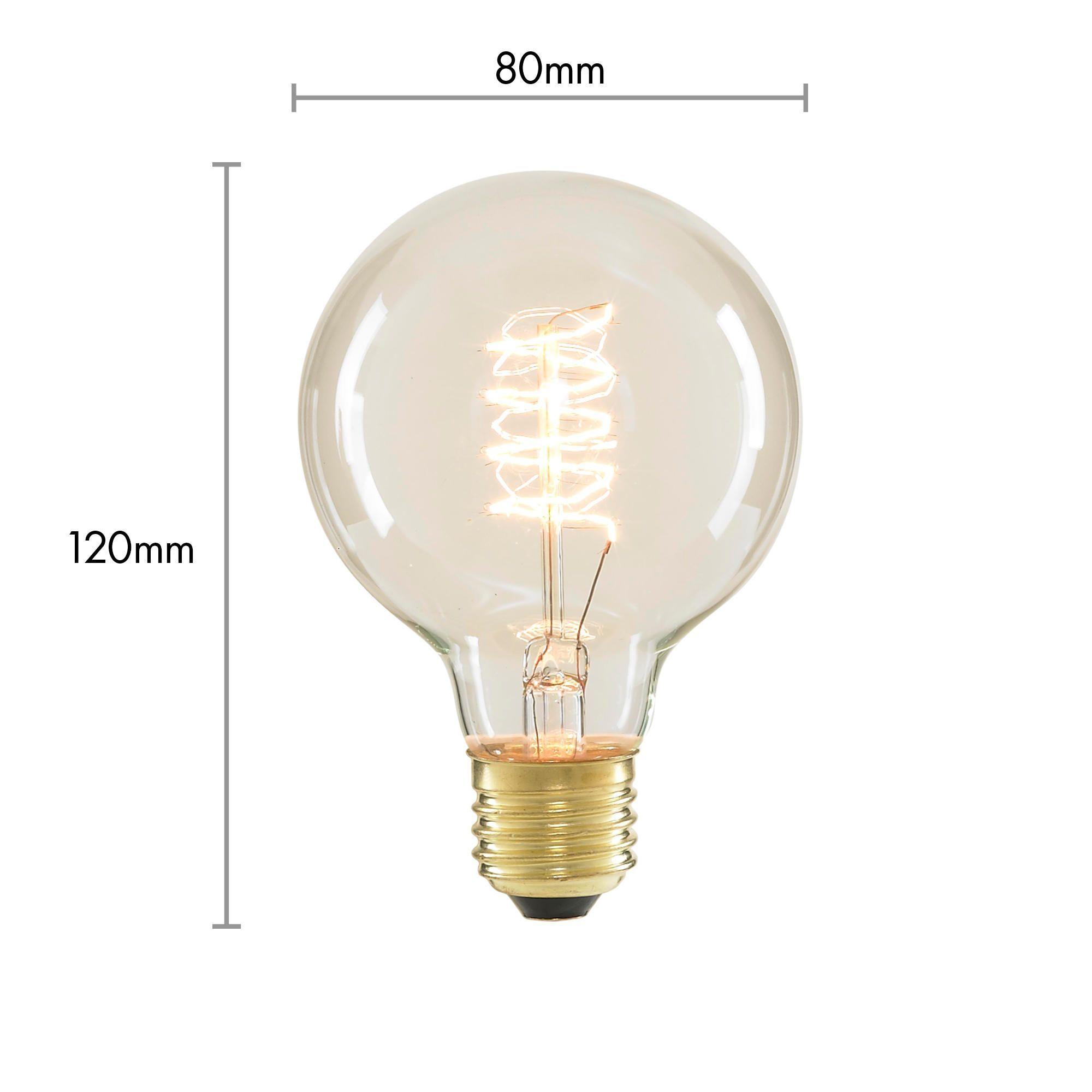 40 Watt Vintage Light Bulb Globe E27 Spiral Filament Clear