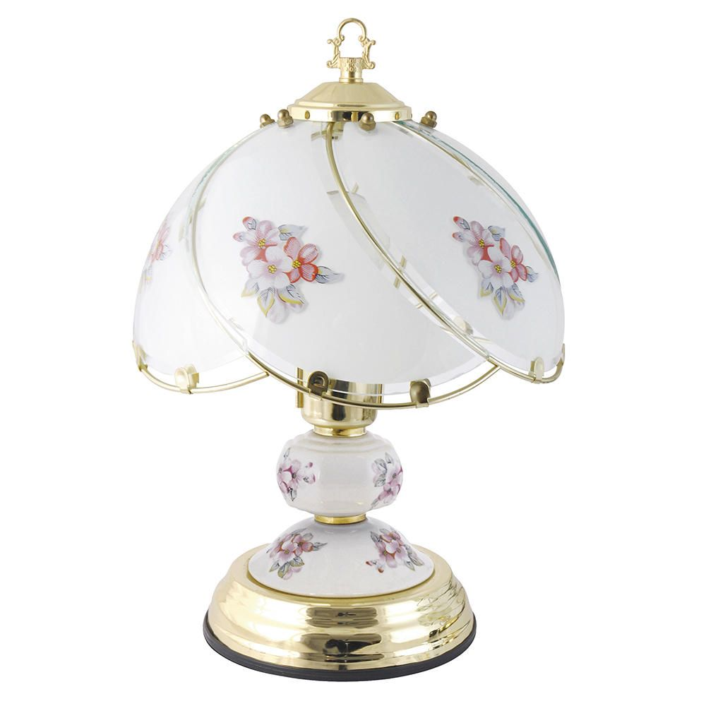 Pulag touch sensitive pink flower design table lamp brass l14 l2223c pulag 1 light touch sensitive pink flower design table lamp brass fastfree delivery geotapseo Choice Image
