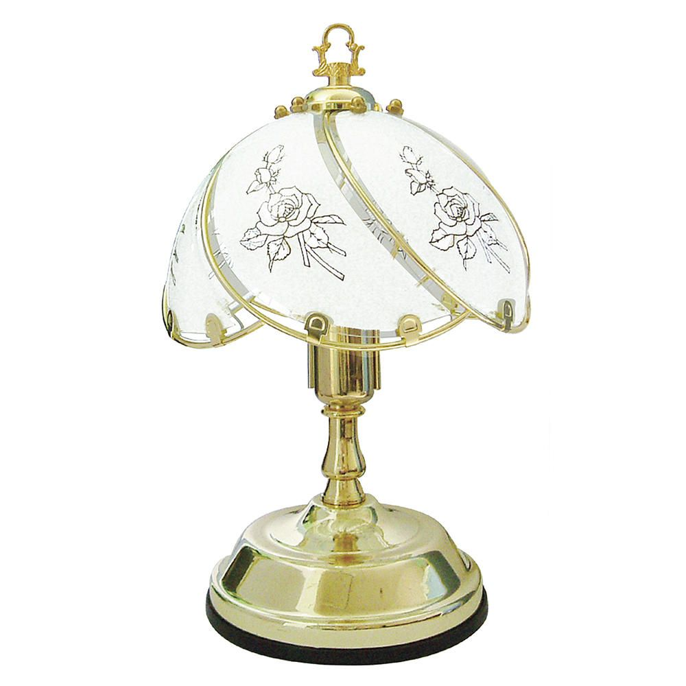 Lawu Touch Sensitive Rose Design Table Lamp  Brass