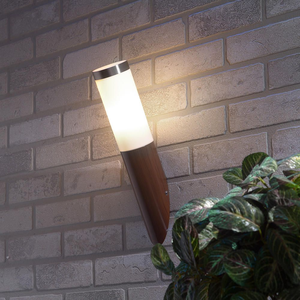 huge selection of 63434 8a2b6 4 Pack of 1 Light Outdoor Wall Light - Wood Effect Vinyl & Stainless Steel