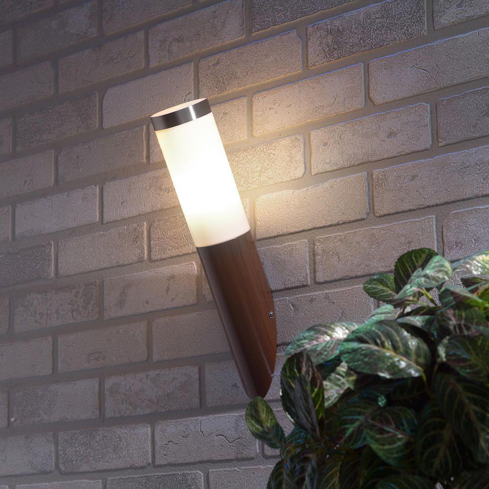 Wood effect satin chrome outdoor wall light & 4x 1 Light Outdoor Wall Light Wood Effect u0026 Stainless Steel