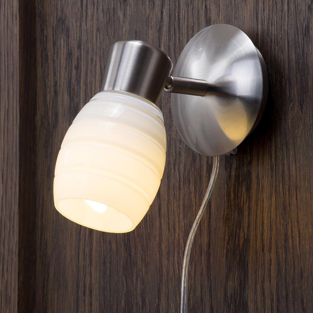 Wall Lights Home Office : Slide Glass Spotlight - 1 Light - Brushed Chrome from Litecraft