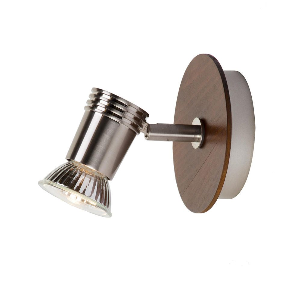 Gareeva Wall Spotlight - 1 Light - Satin Chrome & Wood Finish