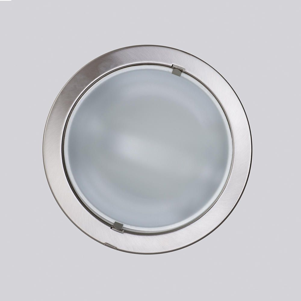 Round recessed ceiling light satin chrome from litecraft illuminating down light frosted glass detailing white glow aloadofball Images
