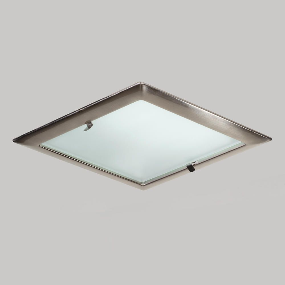 square recessed ceiling light  satin chrome from litecraft - ceiling frosted glass feature creates illuminating white glow