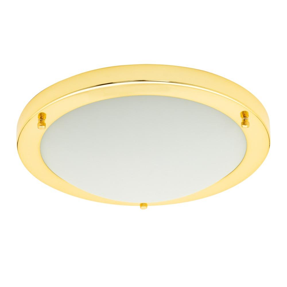 Mari Large Flush Bathroom Ceiling Light - Brass