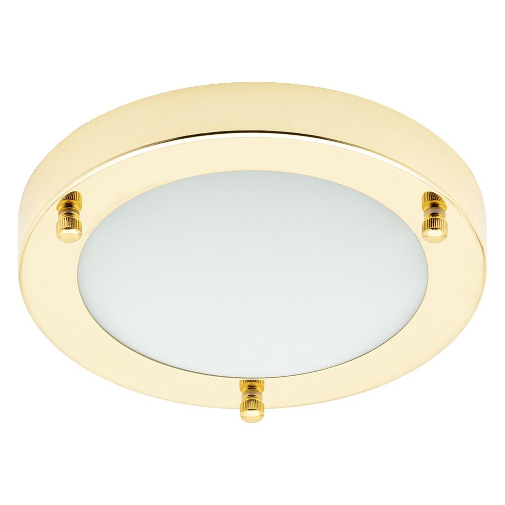 Mari Small Flush Bathroom Ceiling Light - Brass