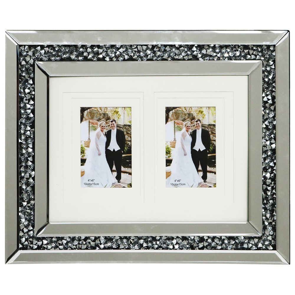 2 Picture Photo Frame Inlaid Diamond Style Mirrored Frame Modern ...