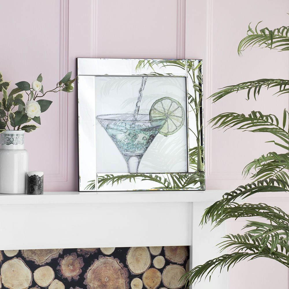 Square Mirror Picture Frame Glittered Cocktail Glass