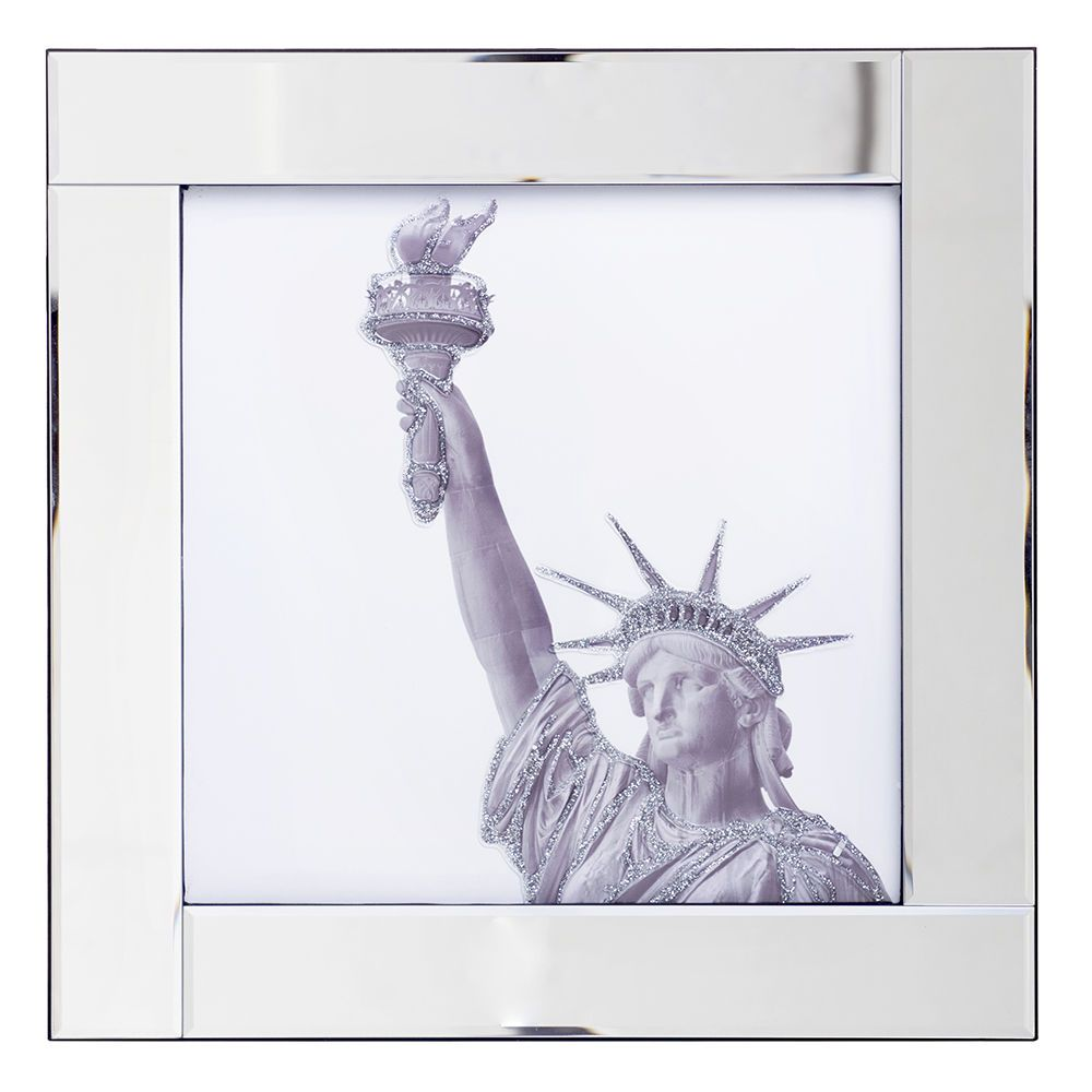 Square Mirror Picture Frame Silver Statue Of Liberty Litecraft