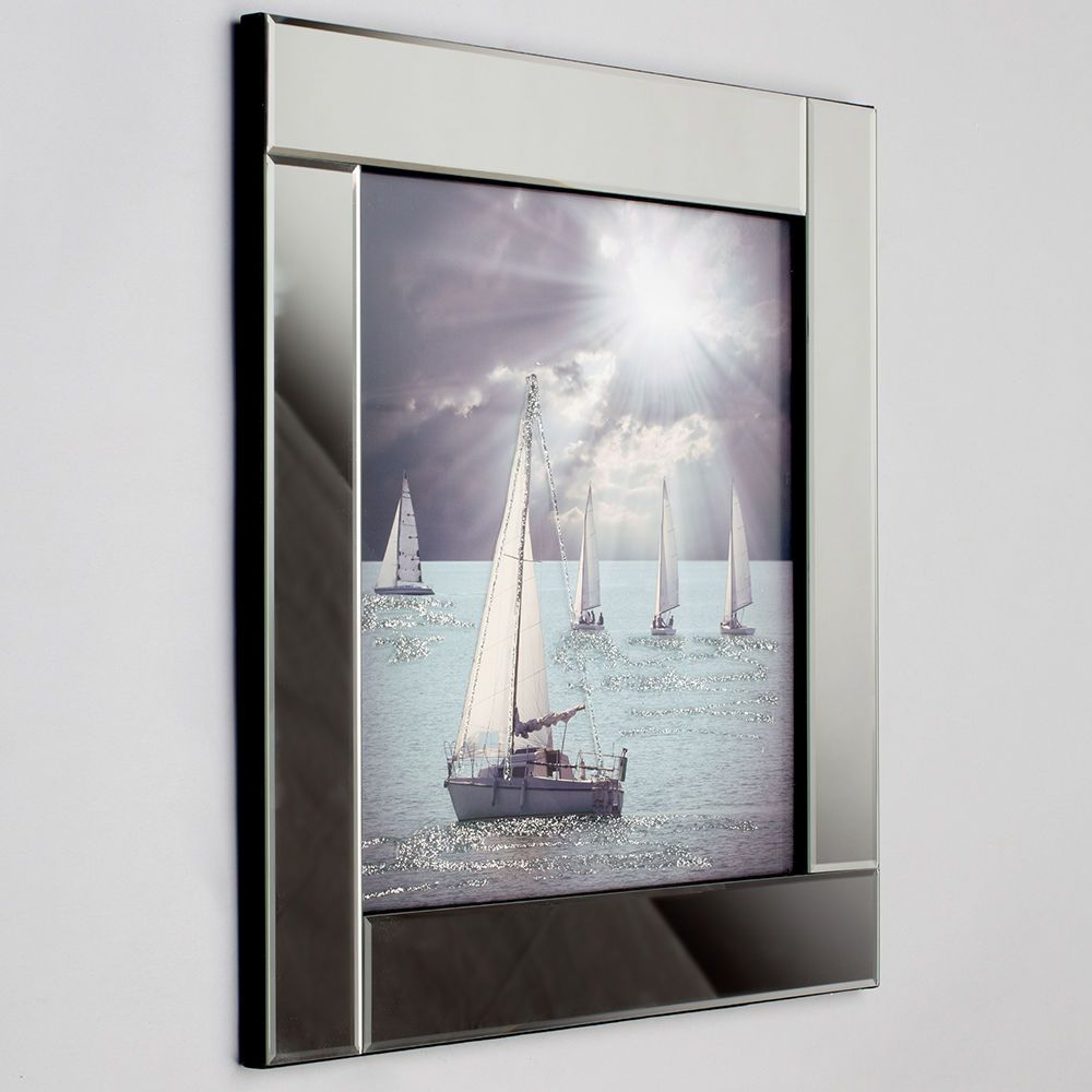 Square Mirror Picture Frame With Glittered Sailing Boats