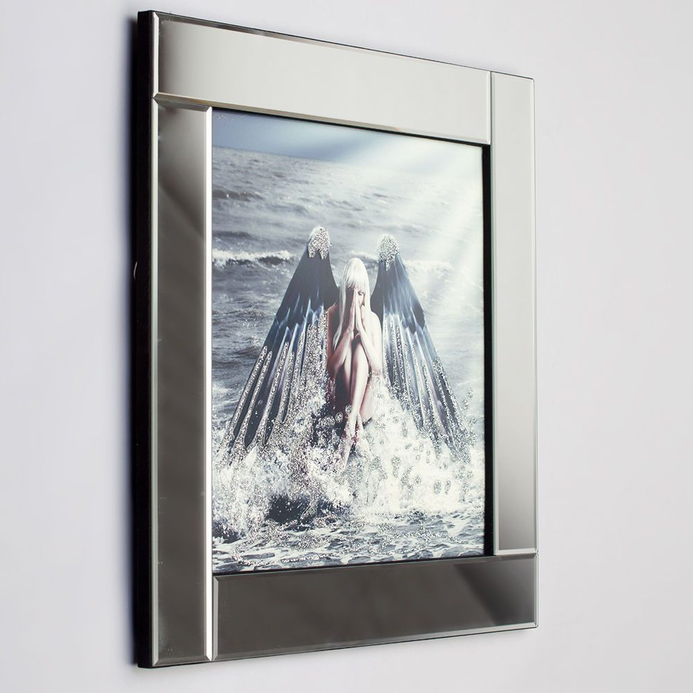 Square mirror picture frame with glittered angel on water illustration silver from litecraft - Sparkle wall decor ...