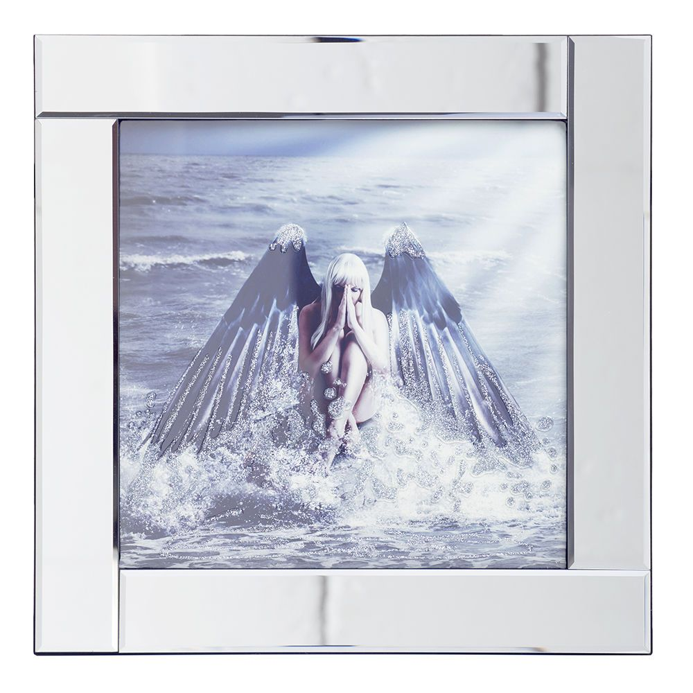 square mirror picture frame with glittered angel on water illustration silver - Mirror Picture Frame