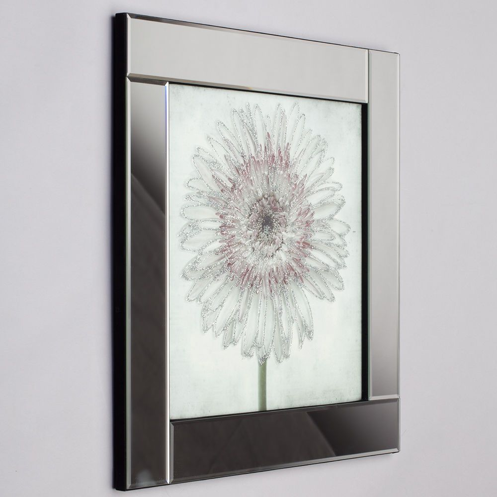 Square Mirror Picture Frame with Gerbera Glittered Daisy ...