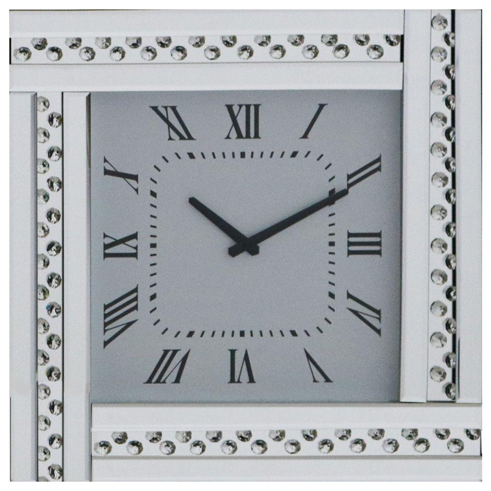 Square Analogue Clocks Mirrored Glass Hanging Modern Home