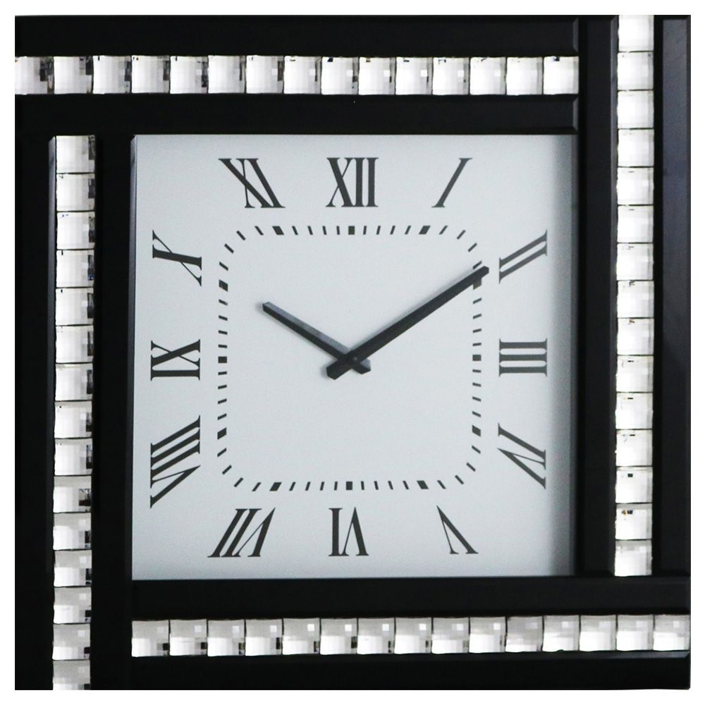 Square Clock With Black Mirrored Glass Frame Black From