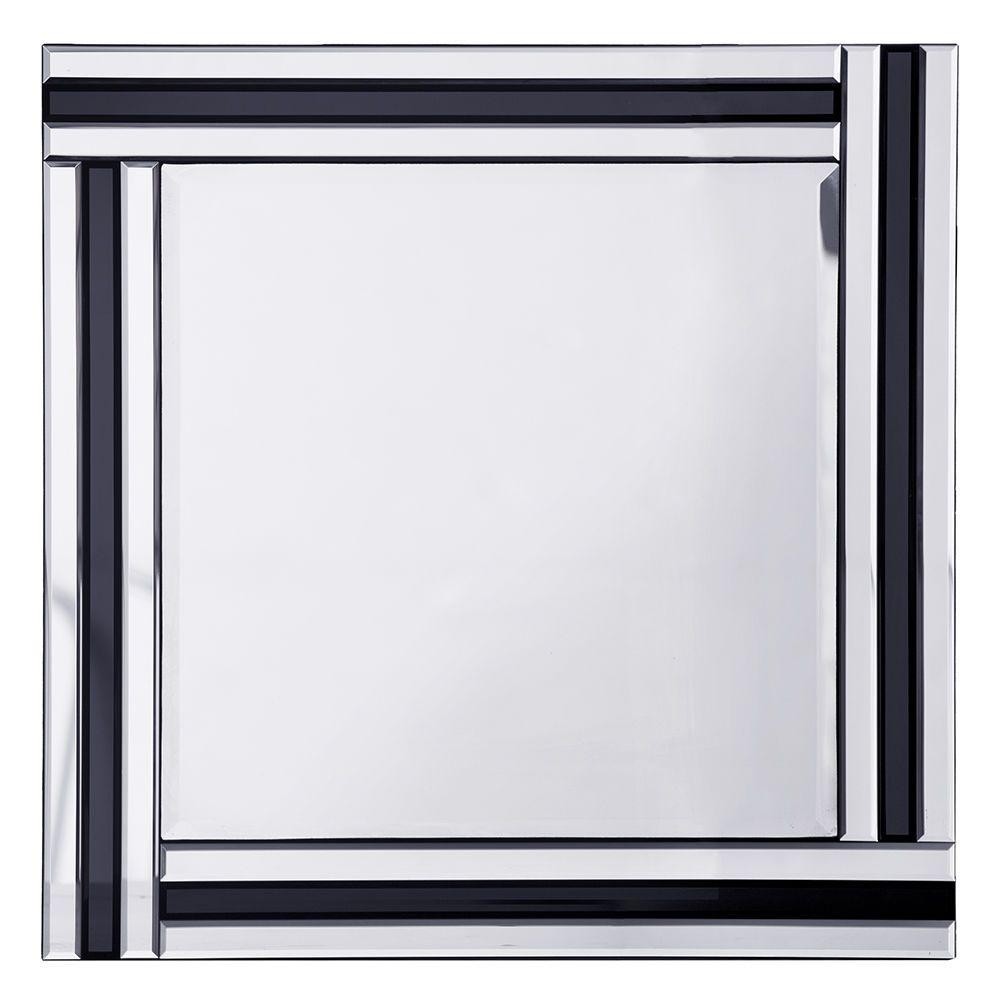 Triple Bar Square Mirror  Black & Silver