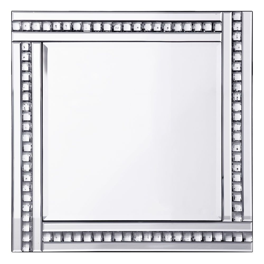 Triple Bar Square Mirror with Crystal Effect Glass  Silver