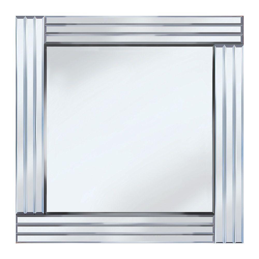Triple Bar Square Mirror  Silver