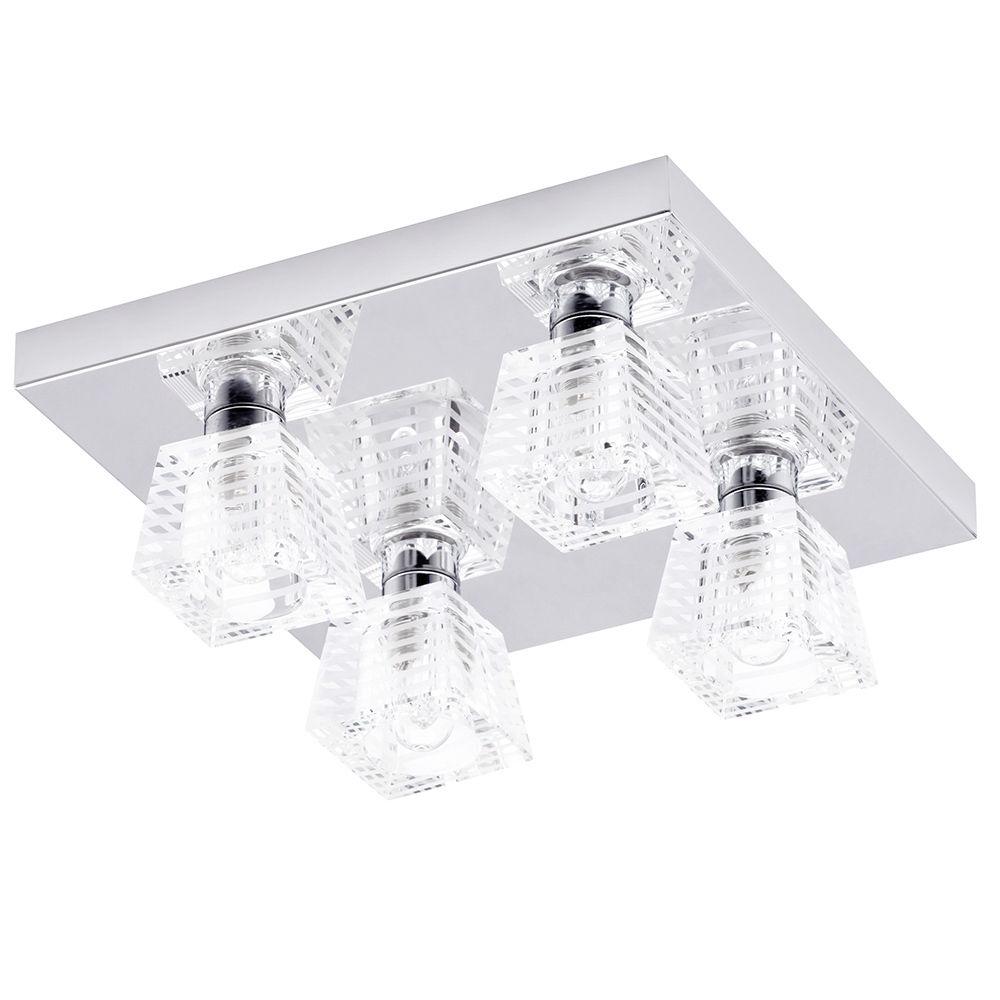 Pyxis K9 Glass 4 Light Bathroom Ceiling Light - Chrome